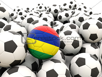 Football with flag of mauritius