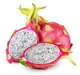 Dragon fruit or pitaya with cut on white