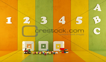 green orange and yellow playroom