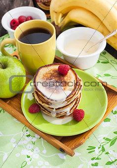Breakfast with apple pancakes