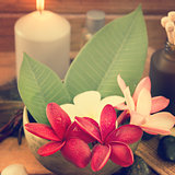 Tropical spa with Frangipani flowers