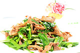 Chinese Food: Fried leek with mushroom