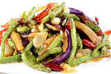 Chinese Food: Fried eggplant slices with beans