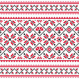 Ukrainian, Slavic folk knitted red emboidery pattern or print