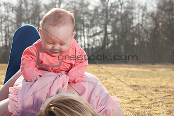 Baby is having fun on moms belly