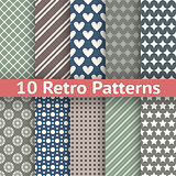 Retro abstract vector seamless patterns (tiling, with swatch)
