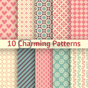 Charming different vector seamless patterns (tiling)