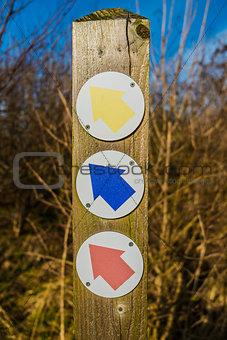 Three coloured arrows
