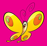 Cartoon yellow happy baby butterfly flying in a magenta backgrou