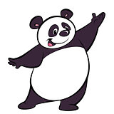 Happy cartoon panda character presenting