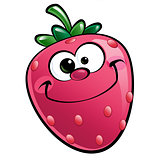 Happy cartoon strawberry character