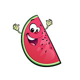 Happy cartoon watermelon character
