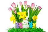 Easter bunnies with tulips