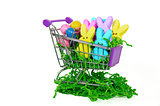 Easter bunnies in shopping cart