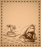 Pirate theme drawing on parchment 1