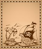Pirate theme drawing on parchment 2