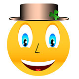 Smile in a hat with a clover