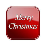 Merry Christmas icon glossy red, isolated on white background