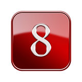 Number eight red glossy, isolated on white background