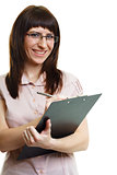 young beautiful woman in glasses with a pen and documents