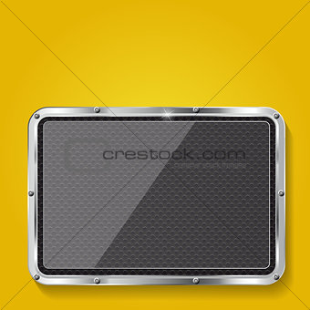 Abstract metal and glass background with frame