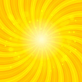Orange Sun hypnotic background. Vector illustration