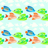 colored fish seamless pattern