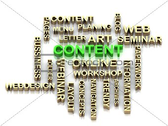 Green CONTENT and other word from golden letters