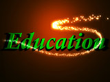 Education - 3d inscription with luminous line with spark