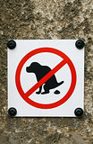 No Dog Pooping sign isolated on wall background