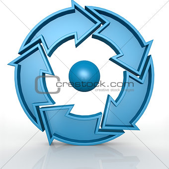 Circular 5 arrows in blue