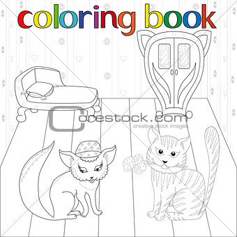 Cat and pussy in room for coloring book