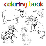 Kit of animals for coloring book