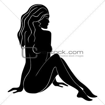 Beautiful female silhouette with flowing hair