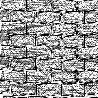 Old bricks. Seamless. Doodle style art illustration