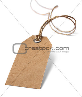 Blank price or address tag isolated on white