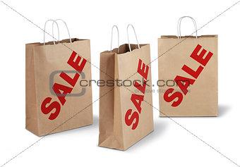 Three brown sale paper bags
