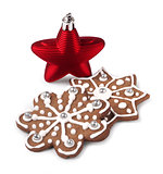 Red Christmas star and gingerbreads