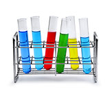 Labotatory test tube rack with liquid samples