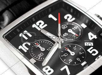 Modern steel wristwatch time concept