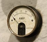 Vintage ammeter closeup