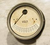 Vintage voltmeter closeup