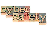 cyber safety text in wood type