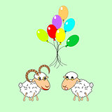 A funny cartoon sheep and ram with colorful balloons