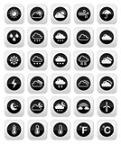 Weather round vector icons set