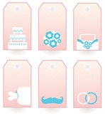 Wedding labels set isolated on white ( pink & blue )