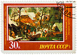 Stamp printed in the Russia, shows draw by artist Pieter Bruegel