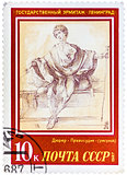 Stamp printed in the USSR, shows a painting artist Albrecht Dure