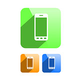 Phone Icon Symbol Flat Design different colors