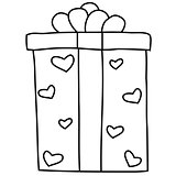 Black and white outlined illustration of gift box